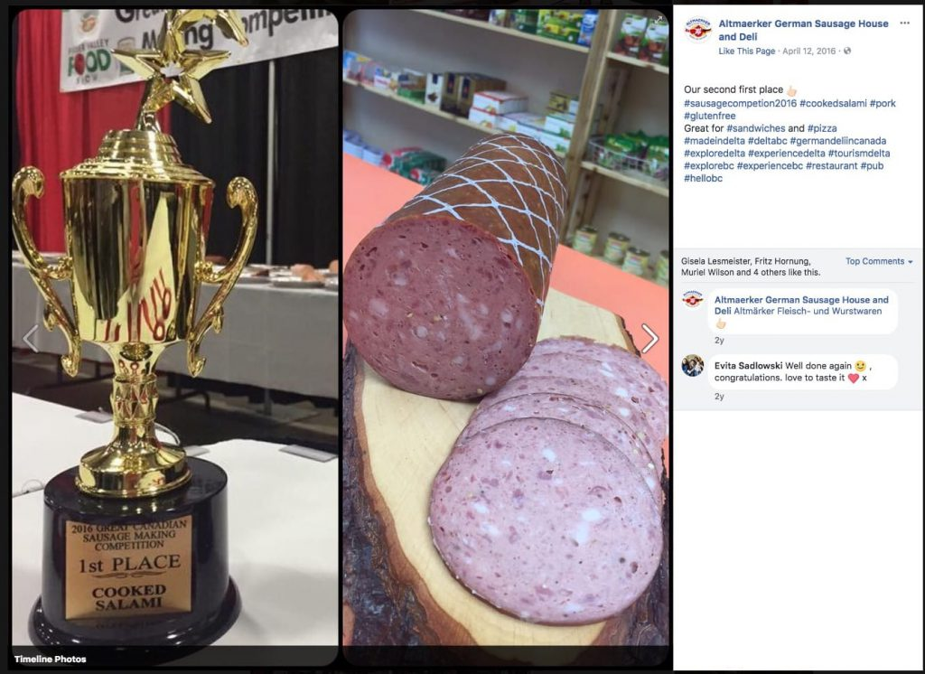 1st Place at Sausage Competition 2016